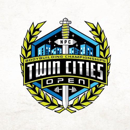 Winning design with the title 'Twin Cities Championships'