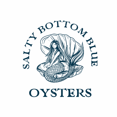 Oyster design with the title 'Salty Bottom Blue Oysters'