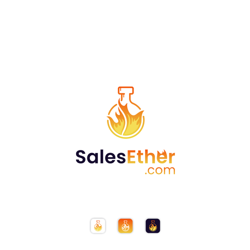 Flame logo with the title 'Eye Catching Fire Potion Logo for a Sales Training Website'
