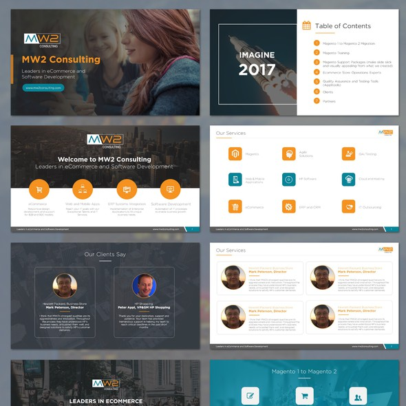 Slide design with the title 'MW2 - Magento Imagine Conference Display Presentation'