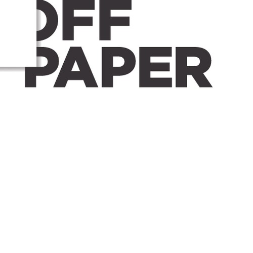 Negative space logo with the title 'Off-Paper'