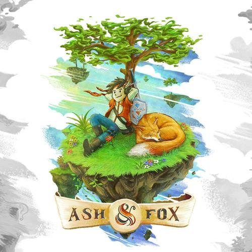 Digital art illustration with the title 'ash & fox'