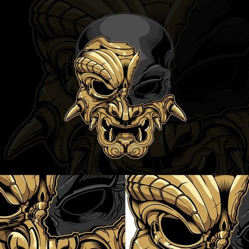 Skeleton t-shirt with the title 'samurai spirit skull'