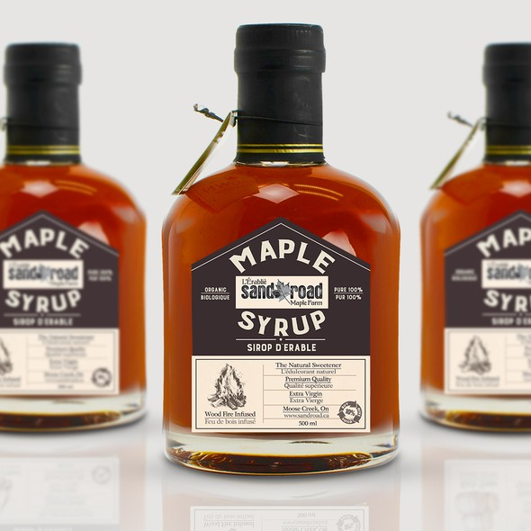 Wood label with the title 'Maple syrup label design '