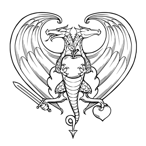 Symbol illustration with the title 'Heraldic symbol of love'