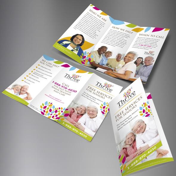 Senior living design with the title 'Thrive Senior Advisors Trifold brochure'