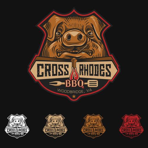 BBQ chicken logo with the title 'BADASS logo for CROSS RHODES BBQ'