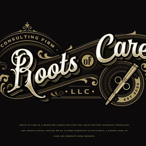 Ornament design with the title 'Roots of Care llc.'