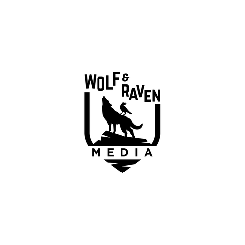 Raven logo with the title 'Wolf and Raven Media'