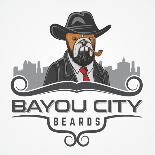 Bulldog logo with the title 'Bayou City Beards'