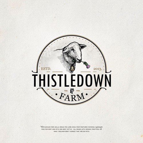 Sheep logo with the title 'Thistledown Farm'
