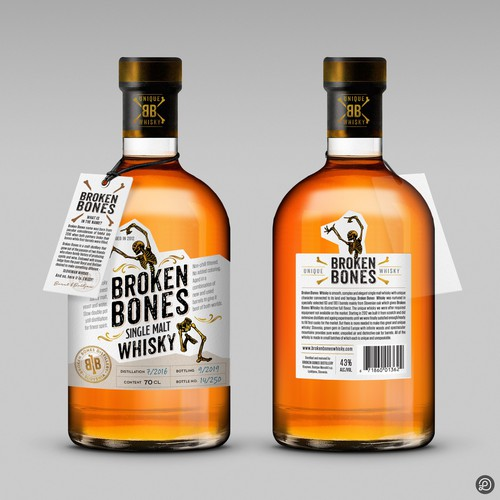 Whiskey label with the title 'Broken Bones whisky label'