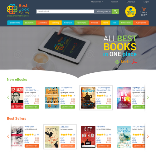 Bookstore design with the title 'landing Page for eBooks Store'