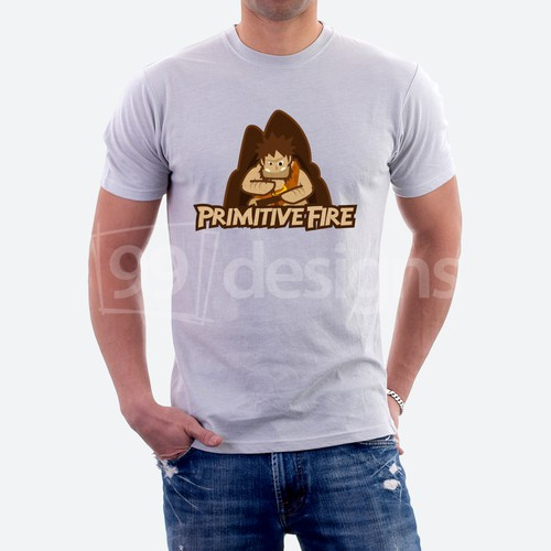 Caveman design with the title 'Primitive Fire'