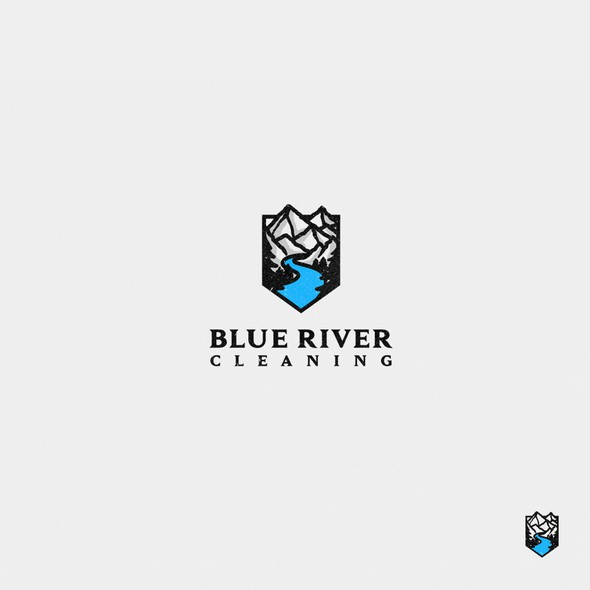 Tree and mountain logo with the title 'Blue River Cleaning'