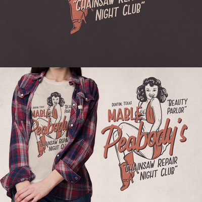 Illustration for Retro Lesbian Bar Mable Peabody's Beauty Parlor and Chainsaw Repair