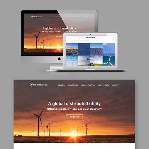 Renewable energy design with the title 'Landing page for a solar energy company'