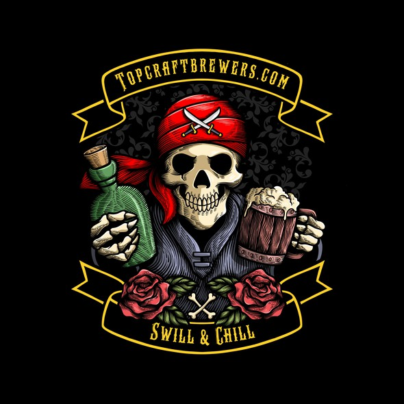 Pirate t-shirt with the title 'Pirate Skull Illustration with Engraving Style for Radoutdoor'