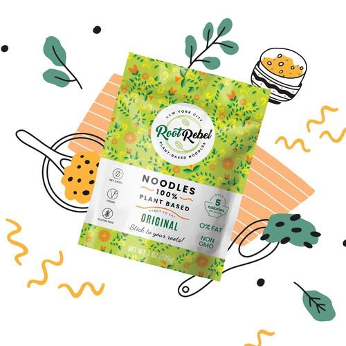 Pasta design with the title 'Vegan Noodles Packaging Design'