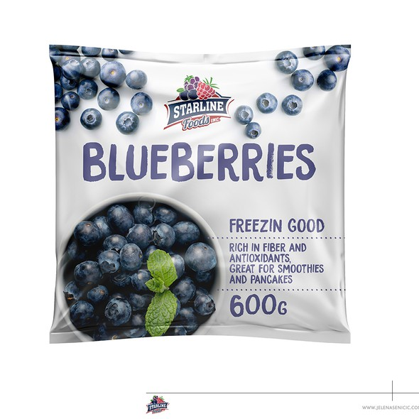 Frozen food packaging with the title 'Frozen blueberries'