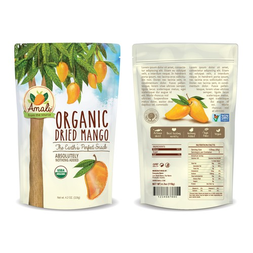 Fruit packaging with the title 'Amali Dried Mango'