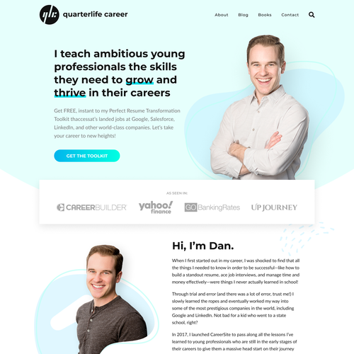 HTML design with the title 'Logo + Website Design in Figma and Implemented in WordPress using Oxygen Builder for quarterlifecareer.com'