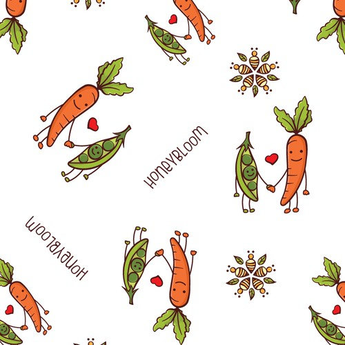 Carrot design with the title 'Pattern design for food wrapping paper.'