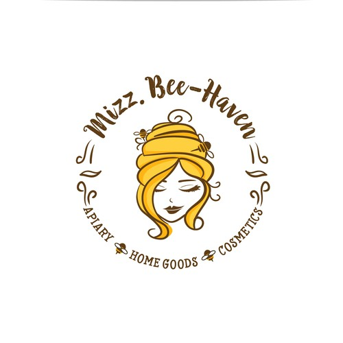 Lady design with the title 'Handmade honey-bee products Logo'