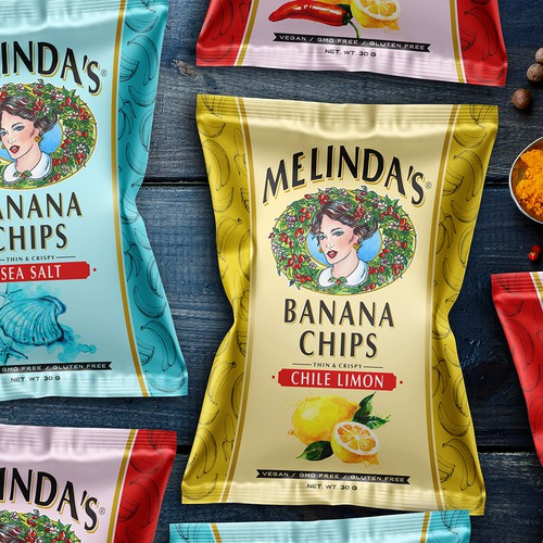 Artistic packaging with the title 'Packing Hot Sauce Banana Chips'