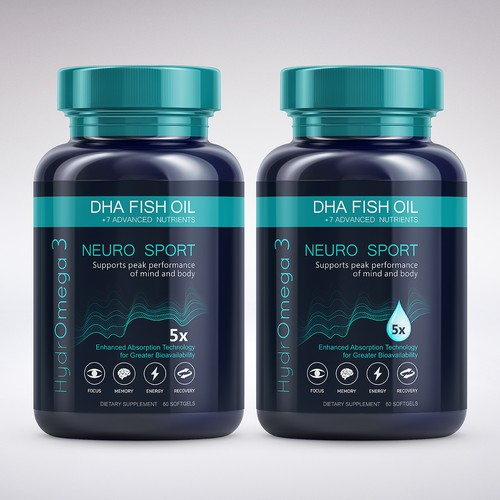 Nutrition label with the title 'Label HydrOmega-3 Neuro Sport'