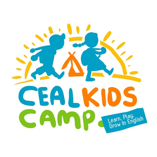 Summer camp logo with the title 'Free hand logo for Ceal Kids Camp'