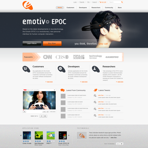 Dark website with the title 'Website for an Award Winning technology company'