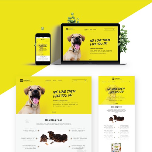 Animal website with the title 'Product Page Design'