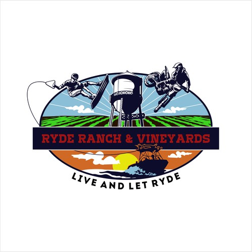 Vineyard logo with the title 'Winner Ryde Ranch & Vineyards Logo Design'