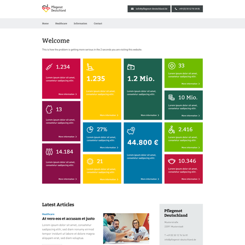 Infographic website with the title 'Website Layout for Healthcare Client'