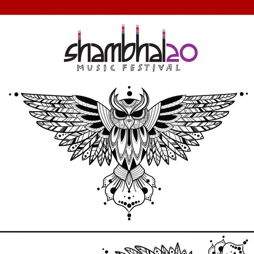 Music festival design with the title 'Mandala inspired Owl'