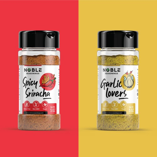 Spice label with the title 'Label design for spice blends'
