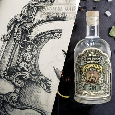 Hand drawn Gin label