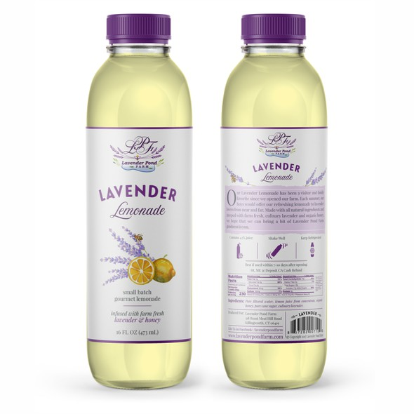 Feminine label with the title 'Lavender lemonade'