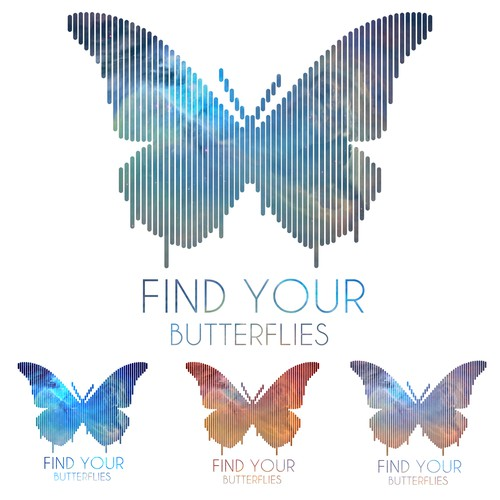 Motivational t-shirt with the title 'FIND YOUR BUTTERFLIES'