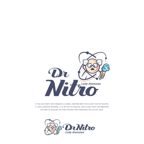 Nitrogen logo with the title 'mascot logo concept for Dr Nitro'