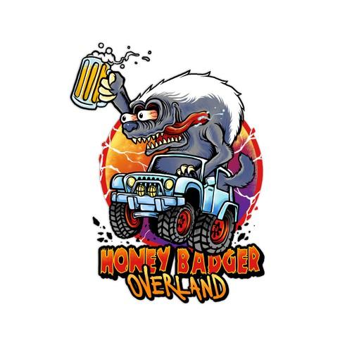 Hot rod design with the title 'Irreverent Illustration/Logo needed for Honey Badger Overland'