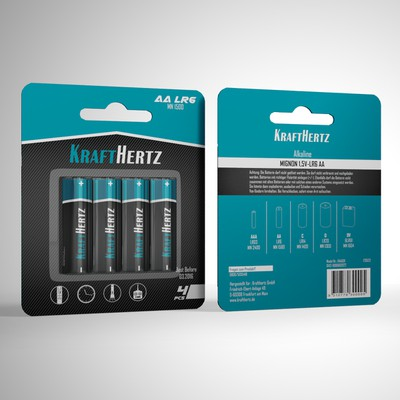 German company needs a high end battery label and packing design for its brand KRAFTHERTZ