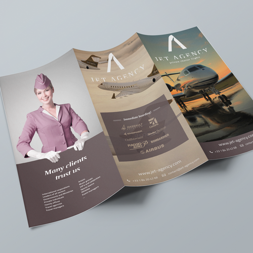 Jet design with the title 'Create a brochure/ebrochure for a Private Jets company : JET AGENCY'