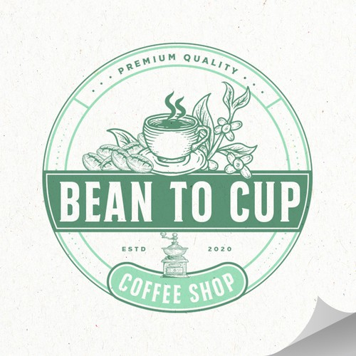 Coffee cup logo with the title 'Bean to Cup'