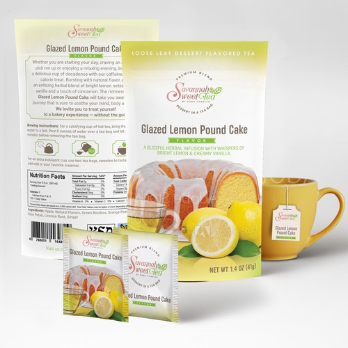 Stand-up pouch packaging with the title 'packaging for flavored tea'