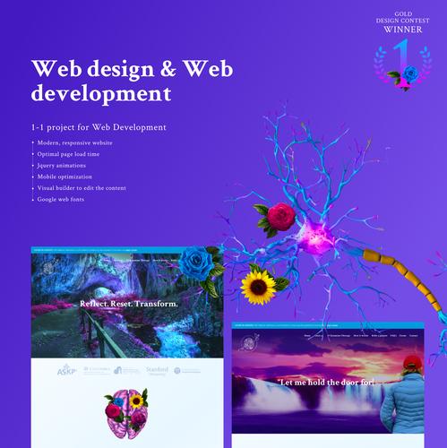 Theme design with the title 'Web design & development, animations, Wordpress permium website for SoftRebootWellness by Hiroshy'