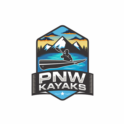 Adventure brand with the title 'Kayak Shop Company Logo'