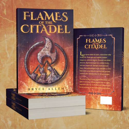 Flame design with the title 'Book Cover: Epic Fantasy'