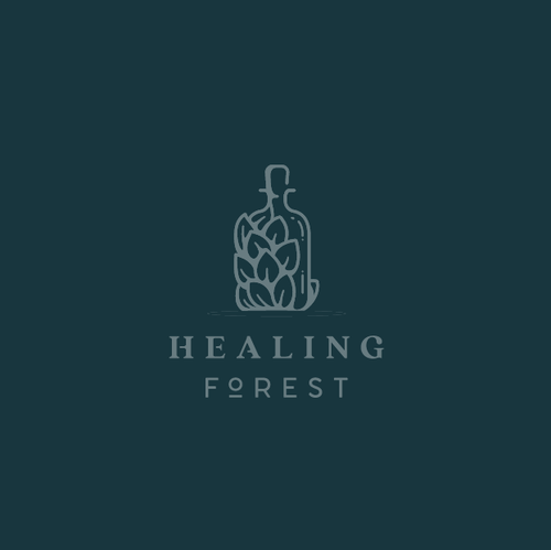 Bottle logo with the title 'Logo for Healing Forest'